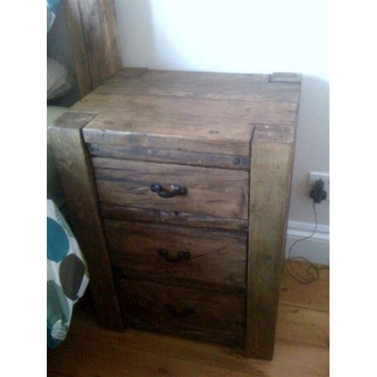 Bedside Table - 4 x 4 Post Bedside Table 3 Drawer