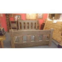 Grey Washed Farmhouse Slat Bed + Bedside Tables