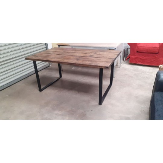 Rustic Handmade Dining Table With Metal Legs