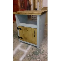 Grey Bedside Table - Open Top with Door to Bottom