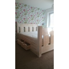 White Washed Slat Bed With Drawer System