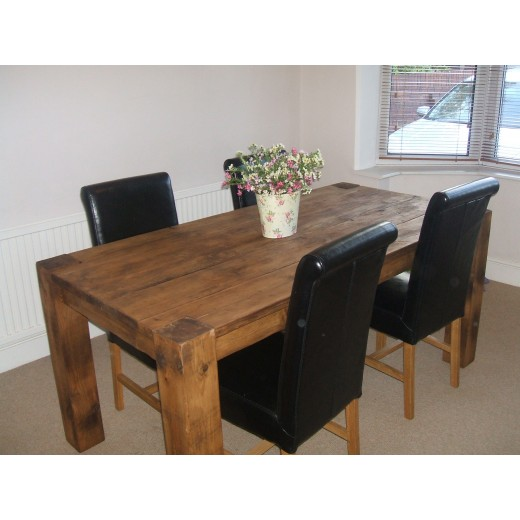 5x5 Posts Plank Dining Table